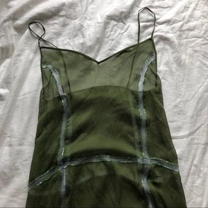 PRADA Women's Green Embellished Sheer Dress